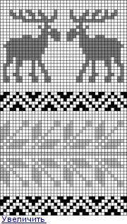 жаккардовый узор с лосями - схема
