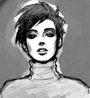 Девушка рисунок с короткими волосами