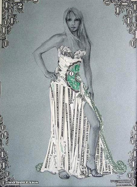 Коллажи из разрезанных купюр от Ирины Трухановой (Irina Truhanova)