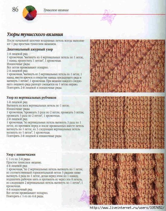 Узоры тунисского вязания