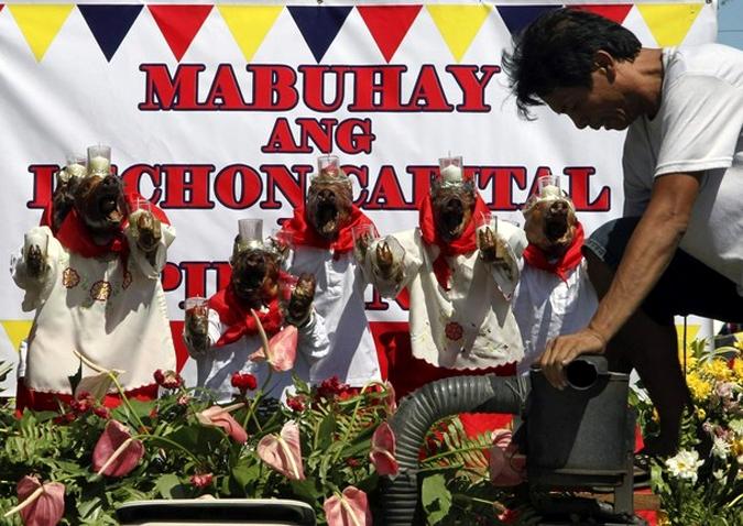 Фестиваль жареного поросенка в Ла-Лома районе Манилы, Филиппины, 16 мая 2010 года.