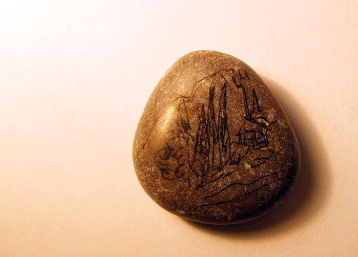 рисунок, деревня, село, камень,