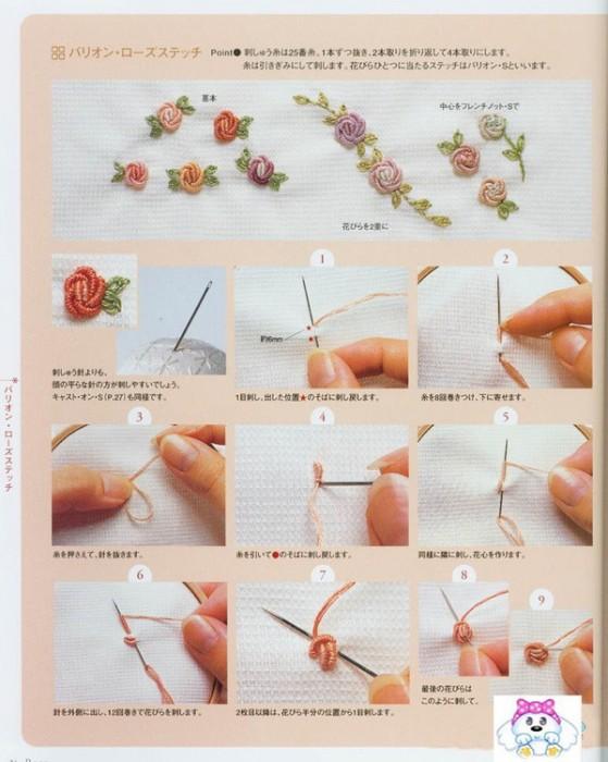 Вышивка лентами на вязаном изделии