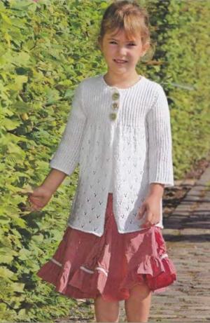 Вязание спицами белый жакет для девочки