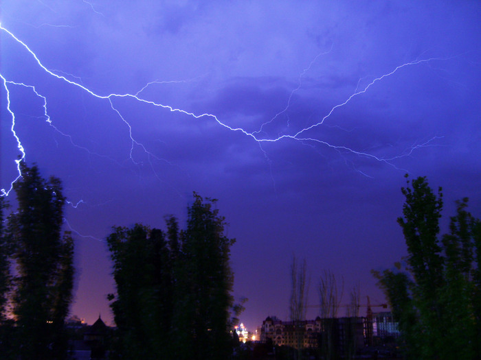 молния, ночь, вспышка