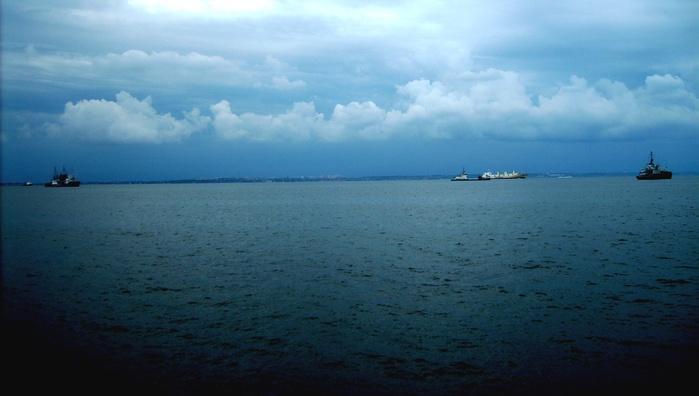 небо море облака