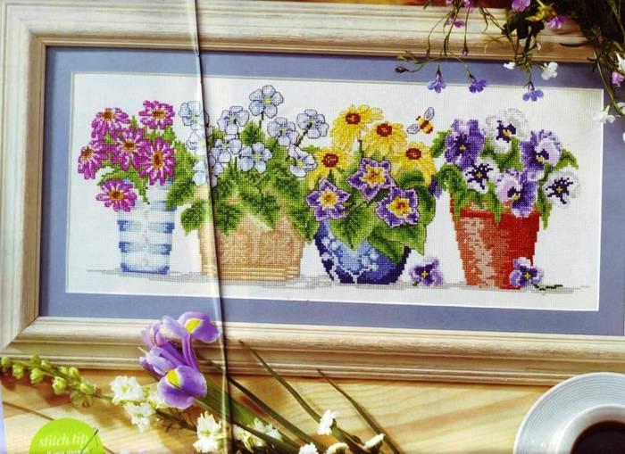 Цветы в горшках - ВЫШИВКА