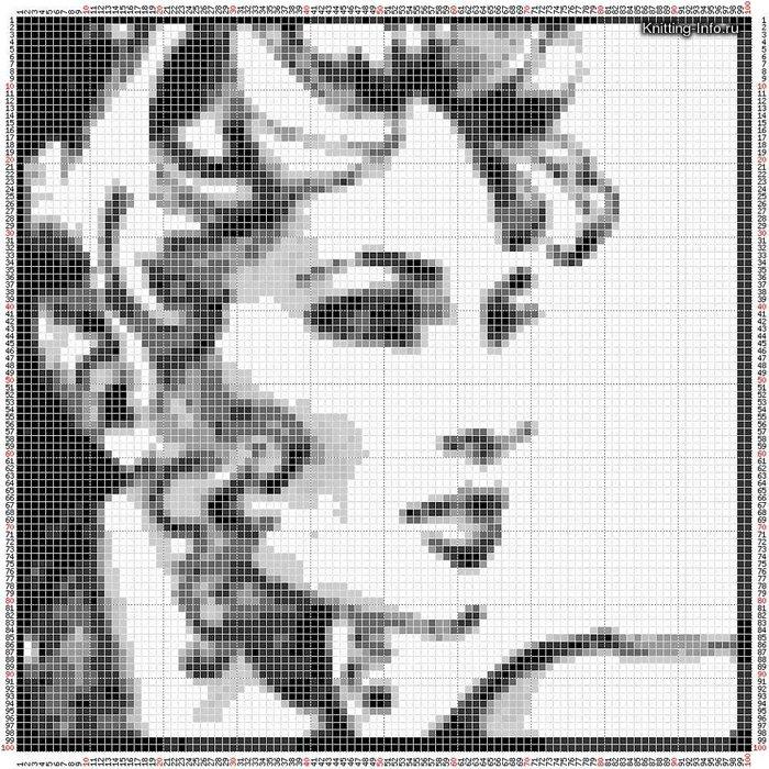 Вышивка портрет монохром