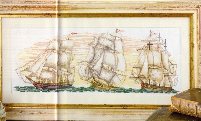 Корабли в море - ВЫШИВКА