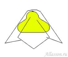 2. Обернуть конфету так, чтобы её вершина совпала с серединой квадрата