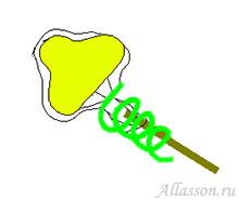 4. Обмотать черенок тейп-лентой от конфеты до середины