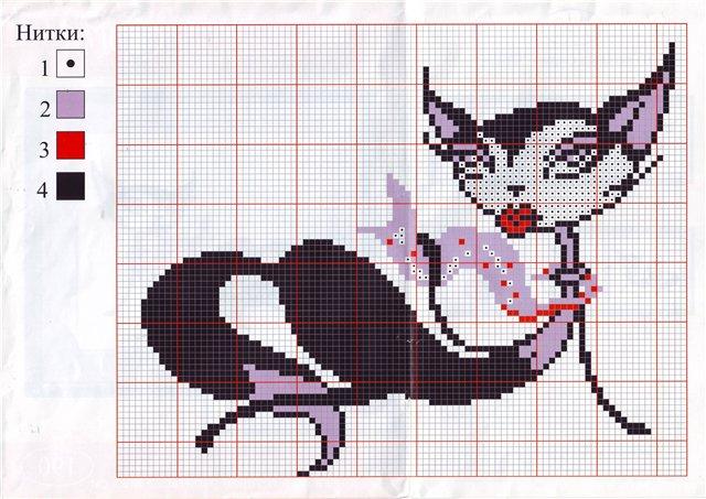 Схема для вышивки крестом кошки гламурные