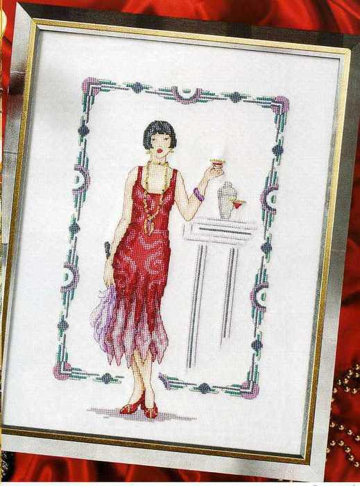 Схемы вышивки крестом дамы ретро