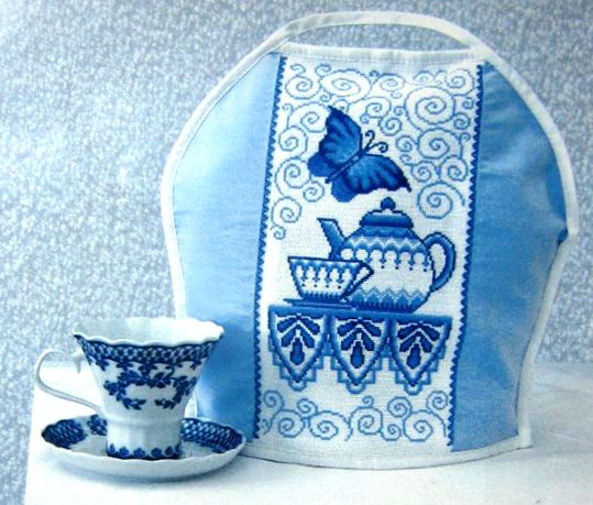 counted cross stitch kits: teapot pattern