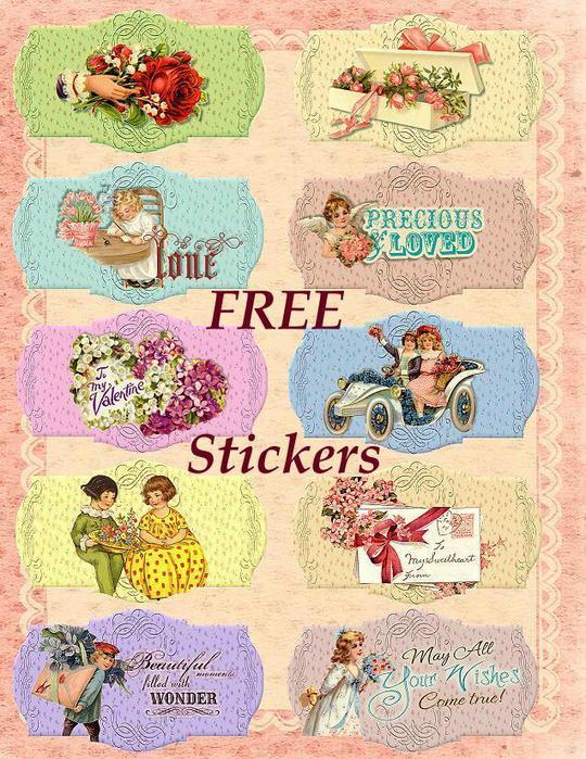 Free Vintage Stickers Sample (540x699, 111 Kb)