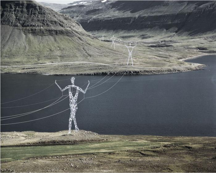 герои исландских сказок в качестве опор для линии электропередач