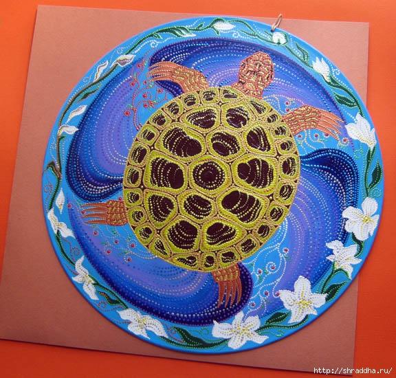 Черепаха роспись акрилом