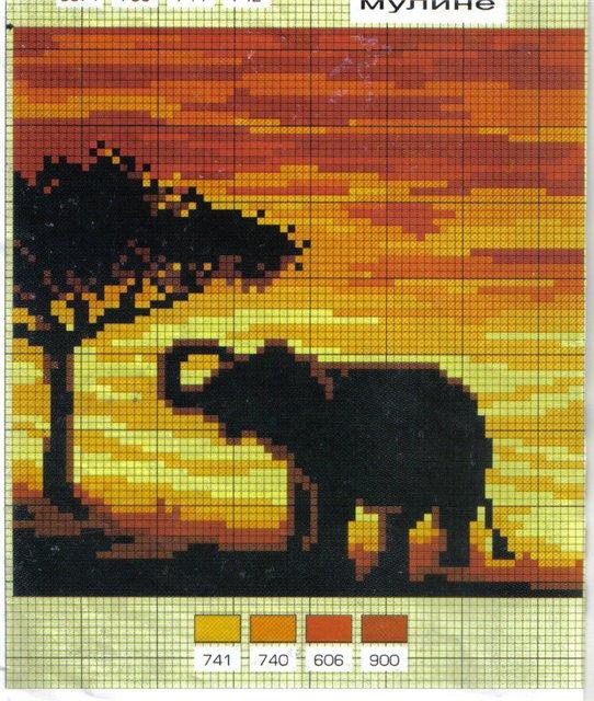 вышивка слон.
