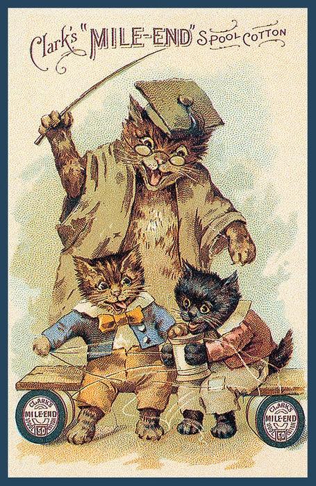 Винтажные открытки с котами 5