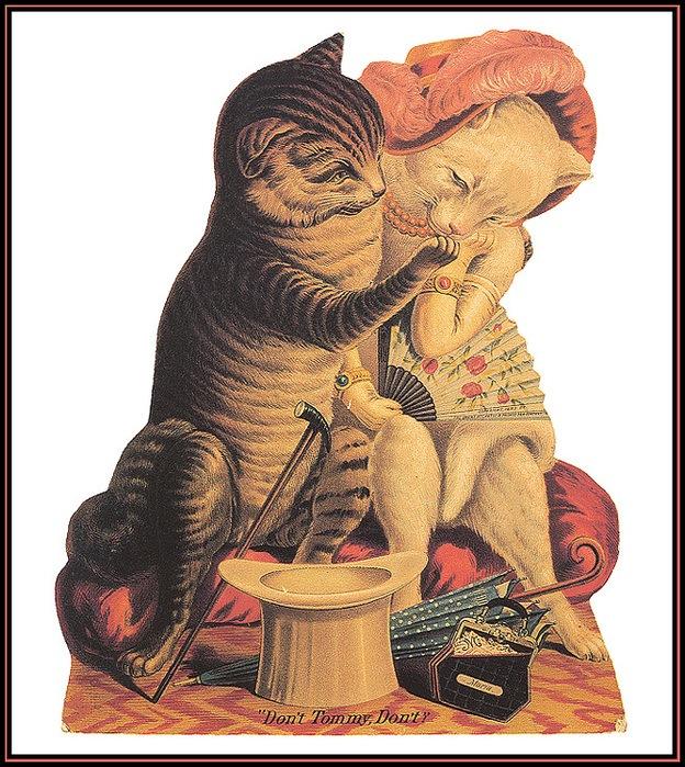 Винтажные открытки с котами 8