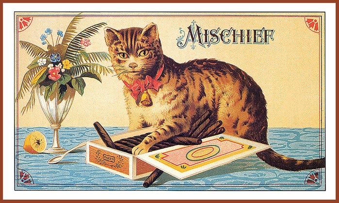 Винтажные открытки с котами 14