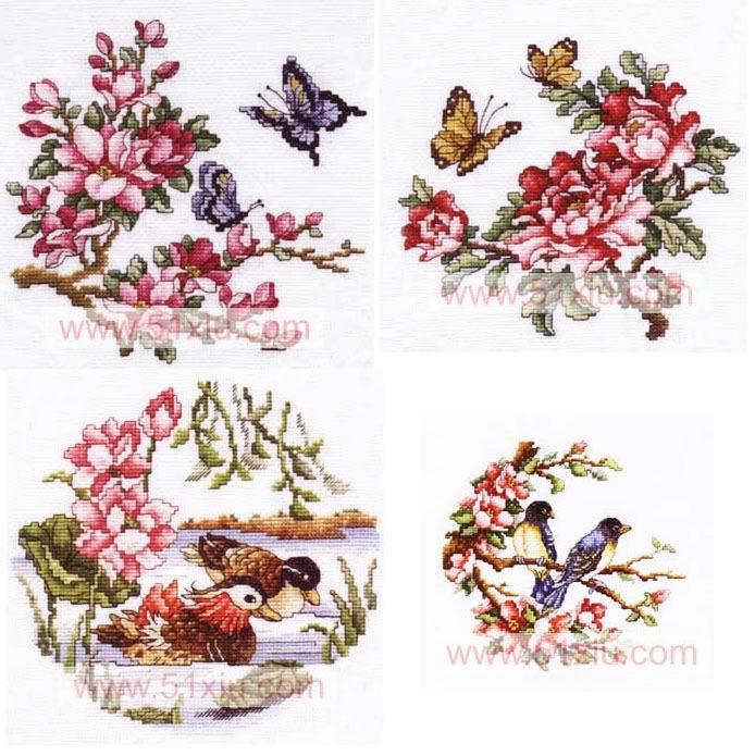 Бабочки и уточки живут в цветах Востока...вышить.