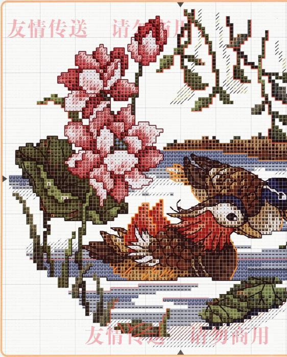 Вышивка утки мандаринки схема