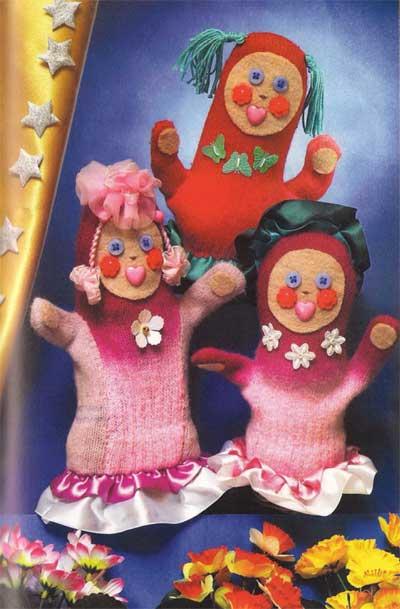 Варежки раскраиваем...  Как можно сшить из старых варежек и перчаток таких кукол девушек - красавиц.