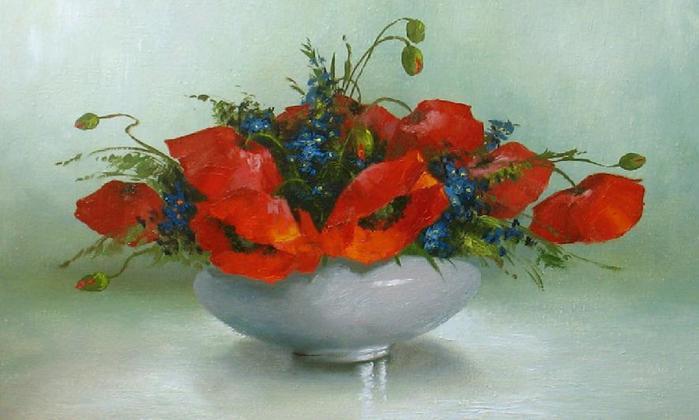 """Ваза с маками, маки, цветы, живопись, картина, ваза.  Оригинал схемы вышивки  """"Ваза с маками """" ."""