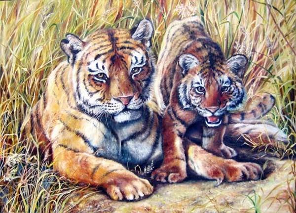 "Тигры в искусстве.   ""Тигрица с тигрёнком."