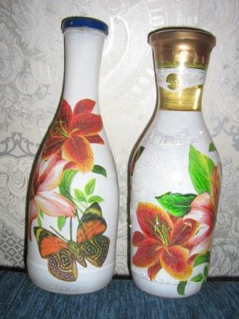 МОЙ ДЕКУПАЖ БУТЫЛОК в подарок.  В подарок на дни рождения мне надо было сделать две красивые бутылки.