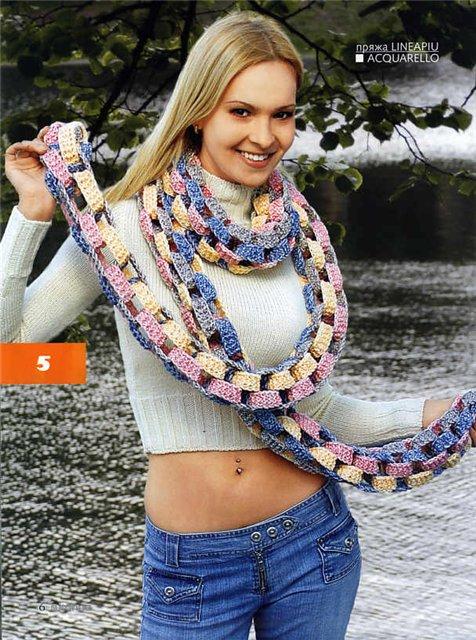 Вязание оригинальных шарфов спицами