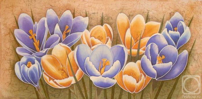 """Схема вышивки  """"Первые цветы """" ."""
