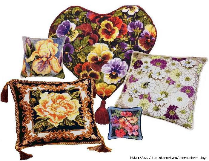 Описание: 9 схем цветочных мотивов вышивки подушек помогут сделать интерьер Вашего дома неповторимым.