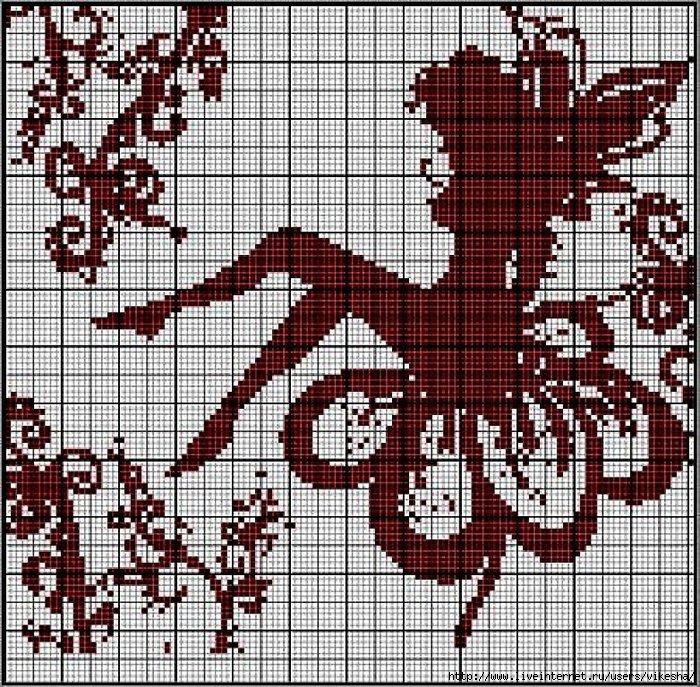 монохром - схемы вышивки -