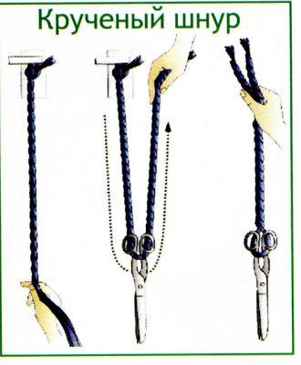 Последний шнур может быть использован как ручка для сумки.