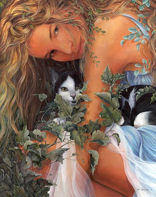 девушка с кошкой.