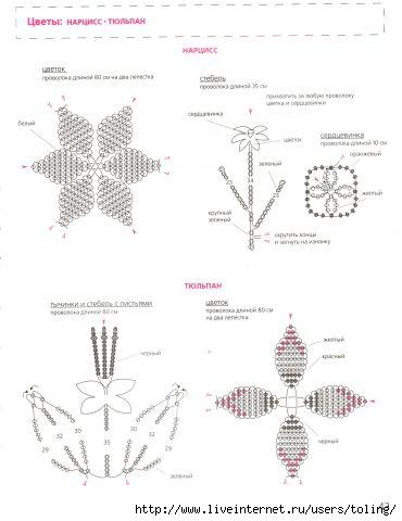 схема плетения — нарцисс
