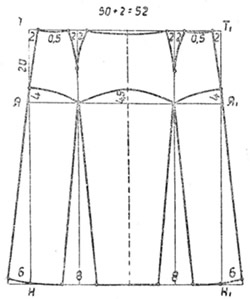 Схема юбки с кокеткой