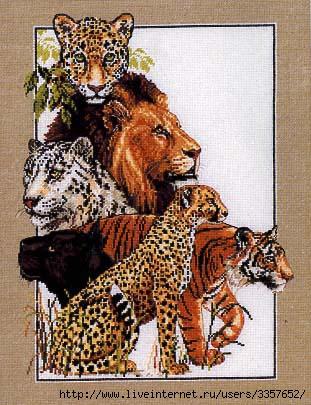 Схема для вышивки крестом Дикие звери.