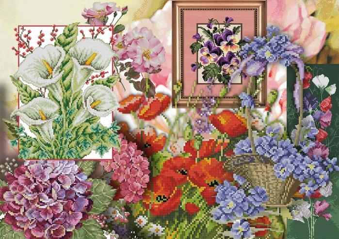 Схемы вышивки разных цветов и