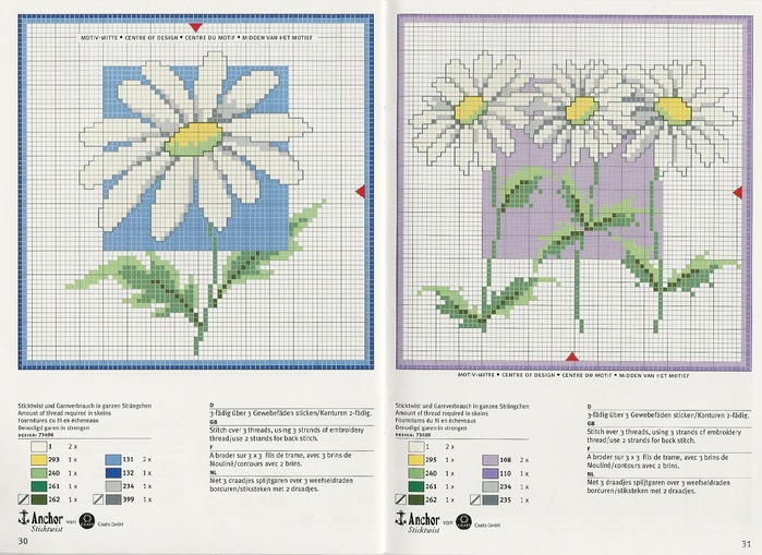 Сложные схемы вышивки крестом цветов