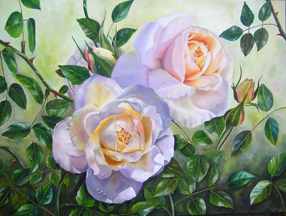 картины акварелью, прекрасные цветы, розы акварелью.