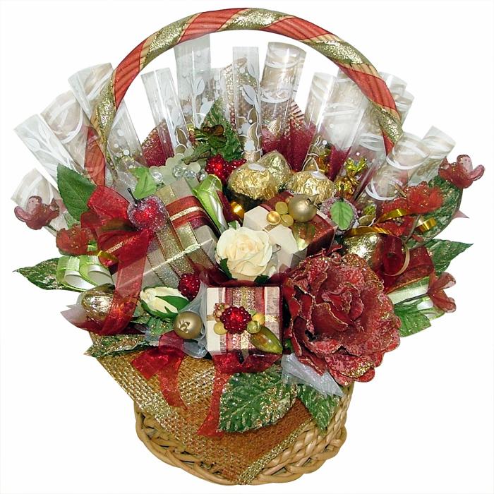 Упаковка для цветов из конфет