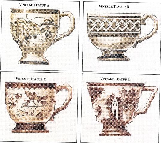 """Оригинал - Схема вышивки  """"Красивые чашки """" - Схемы автора  """"gemini6 """" - Вышивка крестом."""