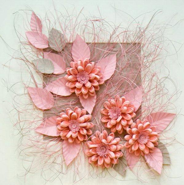 Объемные картины цветы своими руками 74