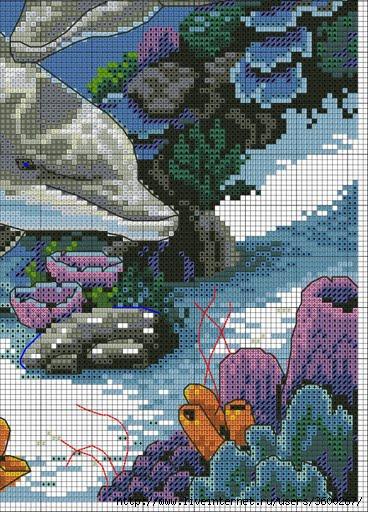 Схема вышивки крестиком с дельфинами