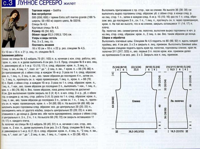 Вязание простого жилета спицами для женщин с описанием
