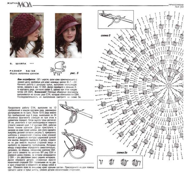 Летние шапочки крючком+схема