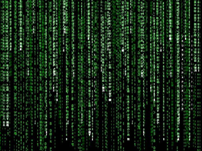 Широкоформатные обои Взлом матрицы, Знаменитый зеленый вид матрицы.